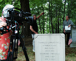 MTT filming the Keeping Score series at Charles Ives' gravesite
