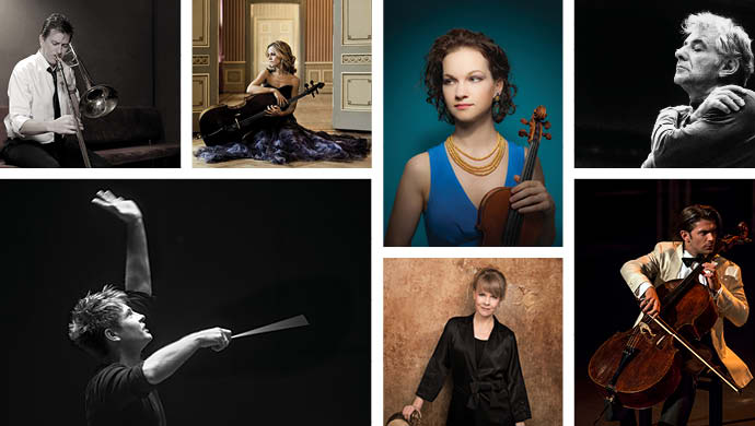 A collage of musicians and conductors featured in the 2017-18 season