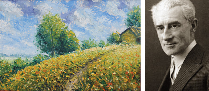 A diptych of an Impressionist painting and a portrait of Ravel
