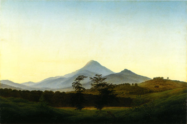 A painting titled Bohemian Landscape by Caspar David Friedrich