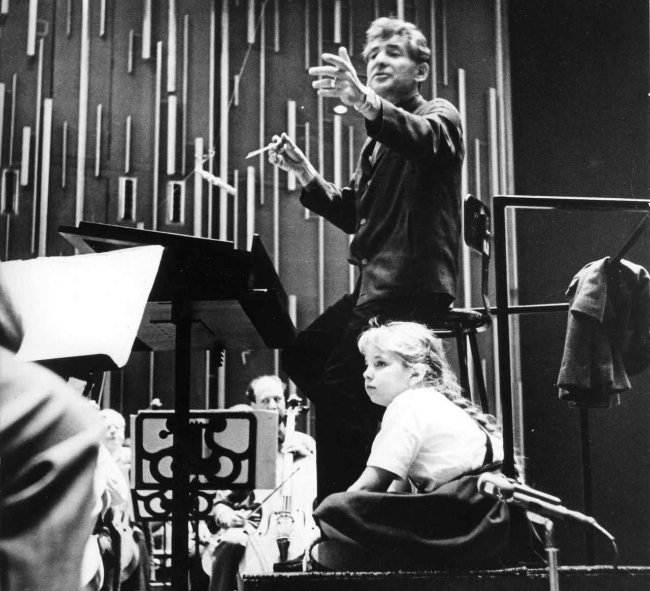 Jamie Bernstein with her father, Leonard Bernstein, at a Young People's Concert
