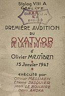 Invitation to the premiere of Quartet for the End of Time, 1941