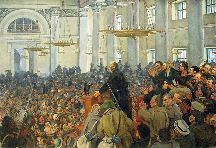 First appearance of Lenin at a meeting in Smolny