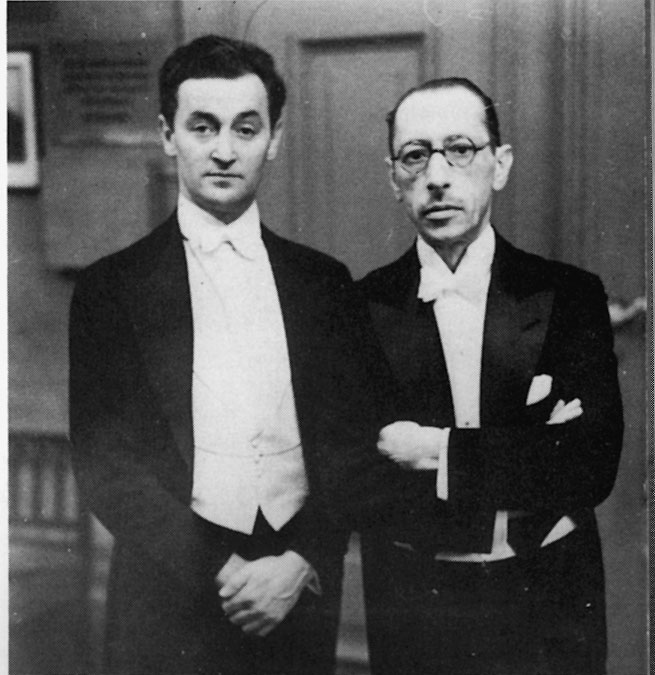Violinist Samuel Dushkin and Stravinsky. The Violin Concerto was premiered at this concert at the Berlin Philharmonie, 1931.