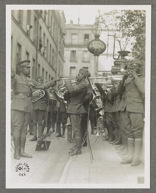 The 369th Infantry Regiment band plays jazz