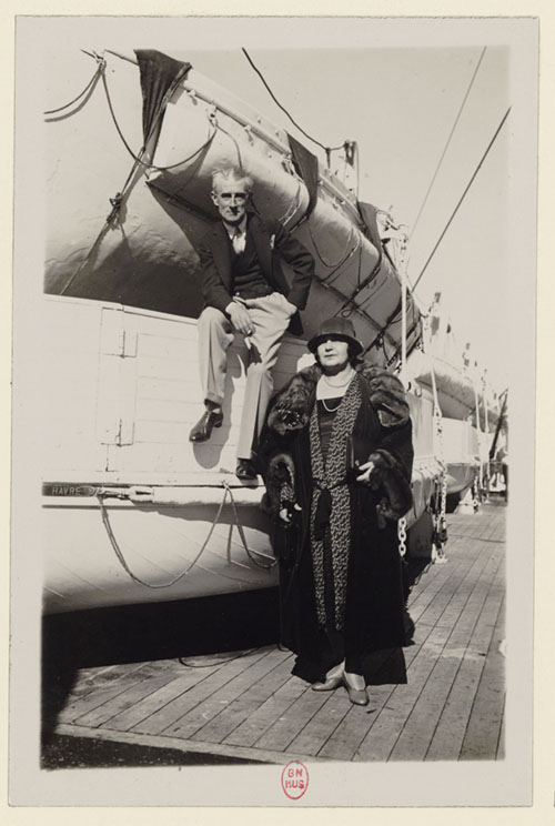 Ravel on a boat with soprano Nina Koshetz