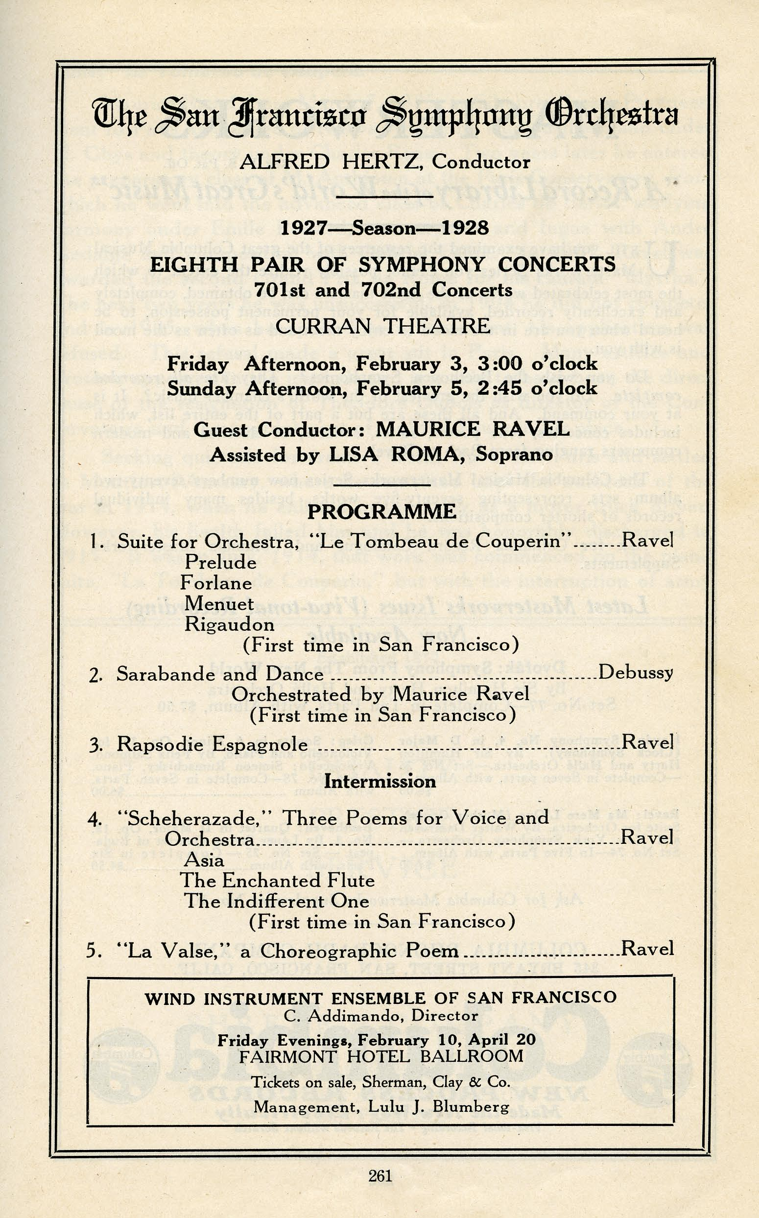 The Program from Eighth Pair of Symphony Concerts