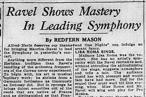 Review of Ravel in the SF Examiner